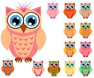 Large set of cute multicolored cartoon owls for children, different designs, trendy coral color. Included vector illustration
