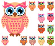 Large set of cute multicolored cartoon owls for children, different designs, trendy coral color. Included royalty free illustration