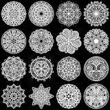 Large  set of design elements, lace round paper doily, doily to decorate the cake, template for cutting, greeting element,  snowfl Stock Photos