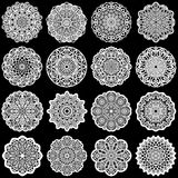 Large  set of design elements, lace round paper doily, doily to decorate the cake, template for cutting, greeting element,  snowfl Royalty Free Stock Photo
