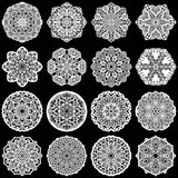Large  set of design elements, lace round paper doily, doily to decorate the cake, template for cutting, greeting element,  snowfl Royalty Free Stock Photos