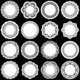 Large  set of design elements, lace round paper doily. Doily to decorate the cake, template for cutting, greeting element, laser cut,   vector illustrations Stock Photo