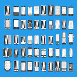Large set of different abstract mobile phones part 2/2 Stock Photo
