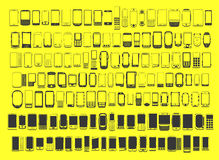 Large set of different abstract 100 mobile phones Stock Image