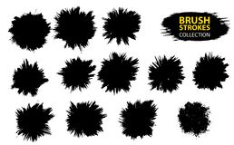 Vector large set different grunge brush strokes. Large set different grunge brush strokes. Dirty artistic design elements isolated on white background. Black Royalty Free Stock Images
