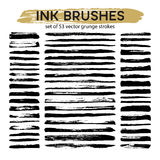Large set of 53 different grunge ink brush strokes. Vector illustration Royalty Free Stock Photography