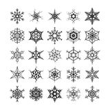 Large set of different modern snowflakes, black silhouettes on white Royalty Free Stock Photography