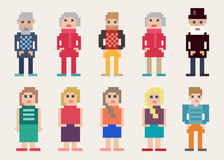 Large set of different pixel people. Large set of different colorful  pixel people with men and women, young and old, for use as web design elements Royalty Free Stock Photos