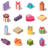 Large set of different present and gift boxes. Royalty Free Stock Photo
