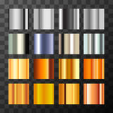 Large set of different silver and gold metal gradients swatch. On transparent background Royalty Free Stock Images