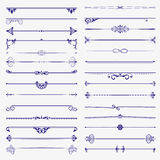 Large set of dividers. Vector  calligraphic design elements and page decoration Royalty Free Stock Photography