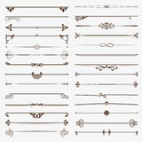 Large set of dividers. Vector  calligraphic design elements and page decoration Royalty Free Stock Photo