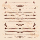 Large set of dividers. Vector calligraphic design elements and page decoration Stock Image