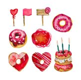 A large set of donuts and decorative elements on a white background. Collection is mainly made up of donuts and various festive elements and decor objects Stock Photos
