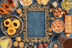 Large set of Eastern, Arab, Turkish sweets top view Stock Image