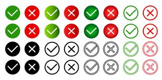 Large set of flat  icons isolated on white background green check marks and red crosses, hard and rounded corners