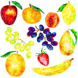 A large set of fruit triangles on a white background Royalty Free Stock Photos