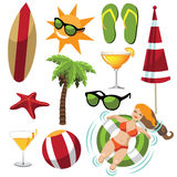 Large set of fun summer icons. Stock Photos