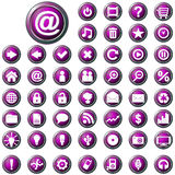 Large set of glossy purple web buttons Stock Image