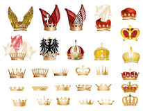 Large set of gold crowns Stock Photo