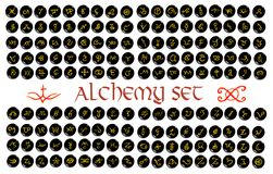 Large set of golden alchemical symbols carved on stone isolated on white. Hand drawn elements for design. Mystical, esoteric, occult theme royalty free illustration