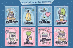 A large set of greeting cards for birthday of colored doodles Stock Images