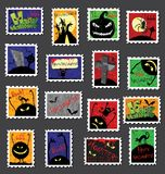 Large Set of Halloween Postage Stamps Stock Photography