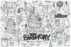 A large set of hand-drawn doodles to birthday. Birthday cake, balloons, rockets, gifts Royalty Free Stock Photo
