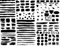 Large set of hand drawn grunge elements isolated on white background. Stock Photos