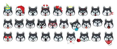 A large set of heads of little dogs with different emotions and different objects. royalty free illustration