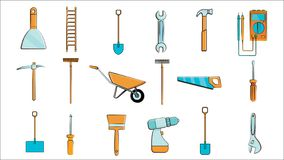A large set of icons for constructio. N, plumbing, garden, repair, tools vector illustration