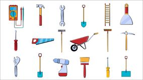 A large set of icons for construction, plumbing, garden, repair, tools shovel, wrenches multimeter, saw, hammer, brush, mop, rake. A large set of icons for vector illustration