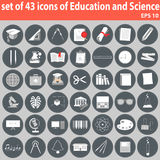 Large set of icons of Education and Science Stock Photography