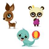 Large set icons of Funny animals stock illustration