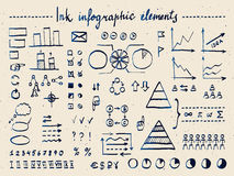 Large set of infographic elements and doodles. Handwritten with fountain pen sketch. Real ink imitation. Collection of business symbols, arrows, diagrams Royalty Free Stock Images