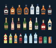 Large set of isolated water and alcohol bottle icon on black background. Vector illustration Stock Photo