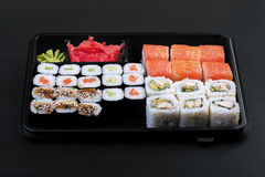 Large set of japanese rolls Royalty Free Stock Images