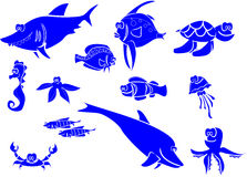Large set of marine fish,vector Stock Photo