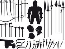 Large set of medieval weapons Stock Photo