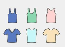 A large set of men`s T-shirts of different styles Royalty Free Stock Images
