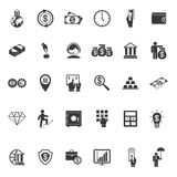 Large set of money banking and finance icons. Large set of thirty different simple vector black and white silhouette money  banking  cash  business and finance Stock Photos
