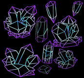 Large set of neon crystals Stock Photo