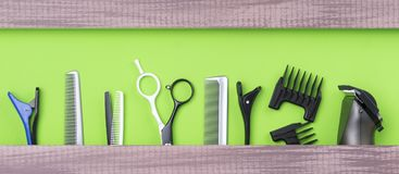 Free Large Set Of Hair Stylist For Cutting Hair On A Green Background Royalty Free Stock Image - 111965096