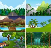 Large set of outdoor scene. Illustration vector illustration