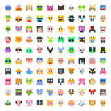 Large set of pixel faces Royalty Free Stock Photos