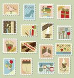 Large set of postage stamps. Various postage stamps with different subjects Royalty Free Stock Photography