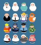 Large set of professional career people in matryoshka doll shape. Stock Images