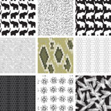 Large set of seamless pattern with elephants Royalty Free Stock Photos