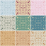 Large set of seamless vintage floral backgrounds Royalty Free Stock Images