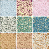 Large set of seamless vintage floral backgrounds Stock Photography